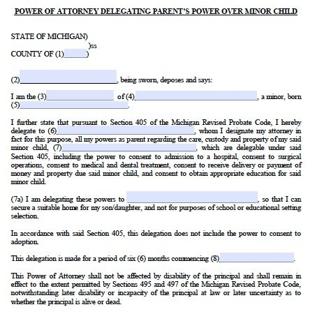 Michigan Minor Child Power of Attorney Form