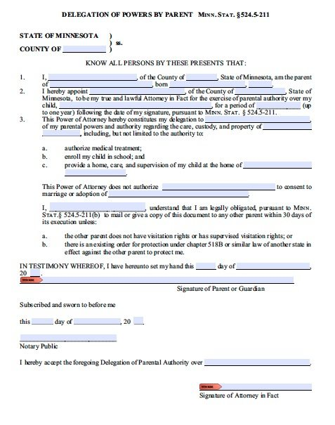 Free Parental Guardianship for Minor Power of Attorney Minnesota – PDF