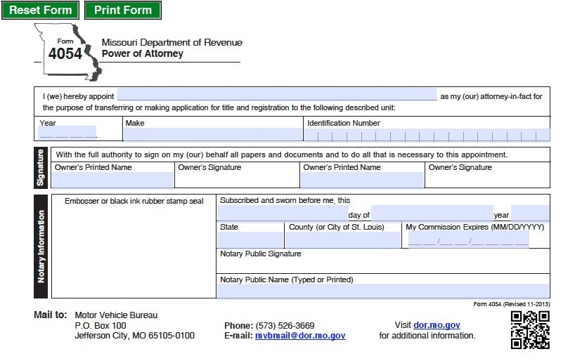 Free Motor Vehicle Power Of Attorney Missouri Form Adobe Pdf