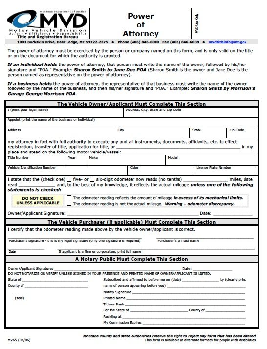 Free motor vehicle power of attorney montana form pdf for Ohio bureau of motor vehicles power of attorney