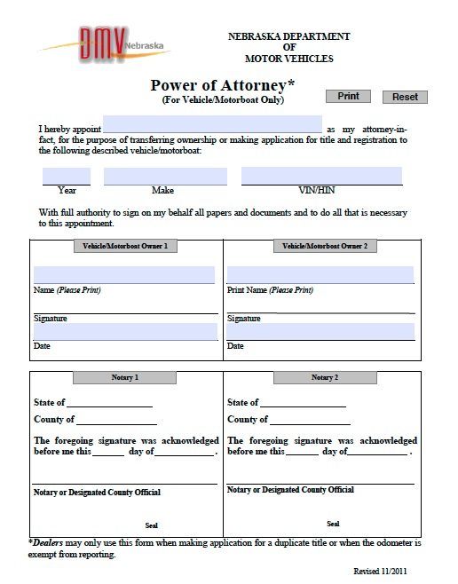 Free Vehicle Vessel Nebraska Power Of Attorney Form Pdf