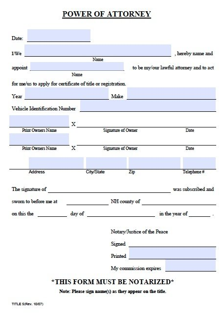 Title 5 - New Hampshire Vehicle Power of Attorney Form