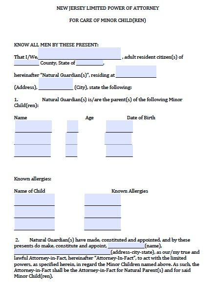 New Jersey Minor Child Power of Attorney Form