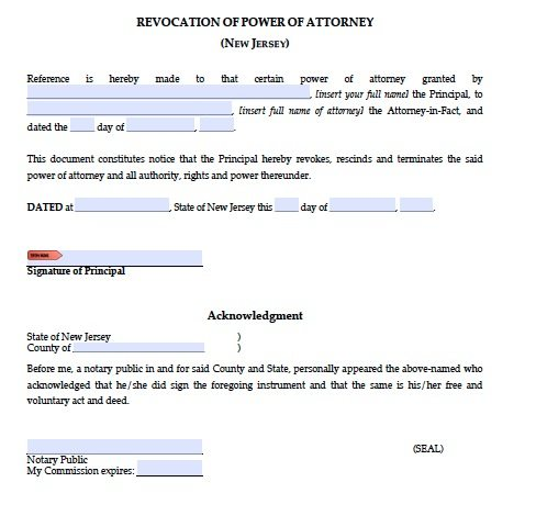 Free Revocation Of A New Jersey Power Of Attorney Form Pdf