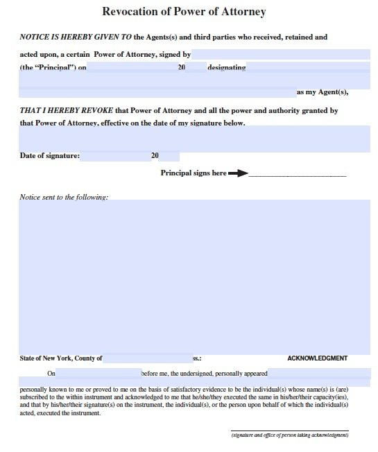Free Revocation Form New York Power Of Attorney Adobe Pdf
