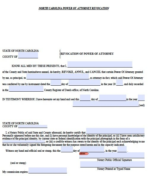 Free Revocation For Power Of Attorney North Carolina Form Pdf
