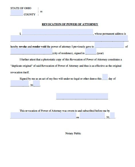 Ohio Power of Attorney Revocation Form