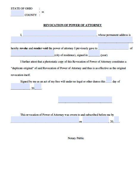 Ohio Power of Attorney Revocation Form