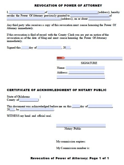 Oklahoma Revocation Form