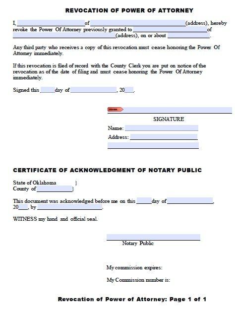 Oklahoma Revocation Form
