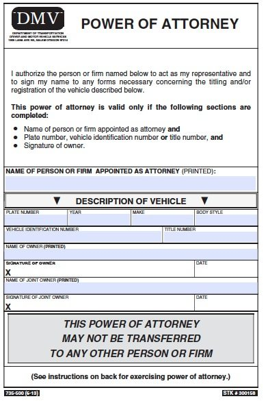 Free Vehicle Power Of Attorney Oregon Form Pdf Template