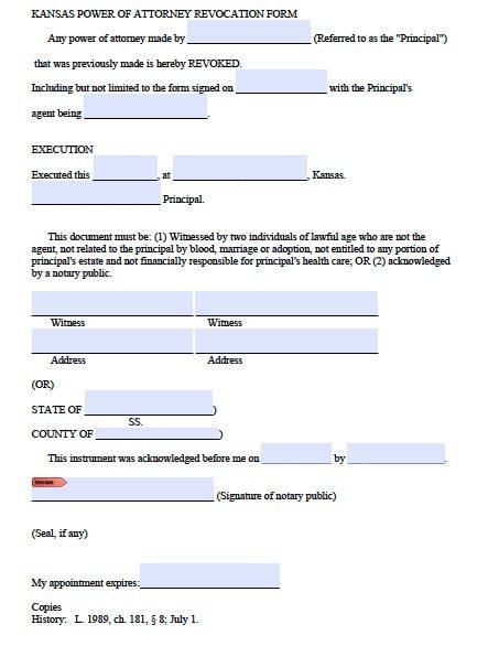 Kansas Revocation POA Form