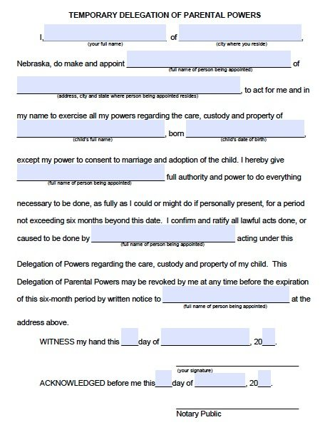 Free Parental Guardianship Over A Minor Power Of Attorney Nebraska