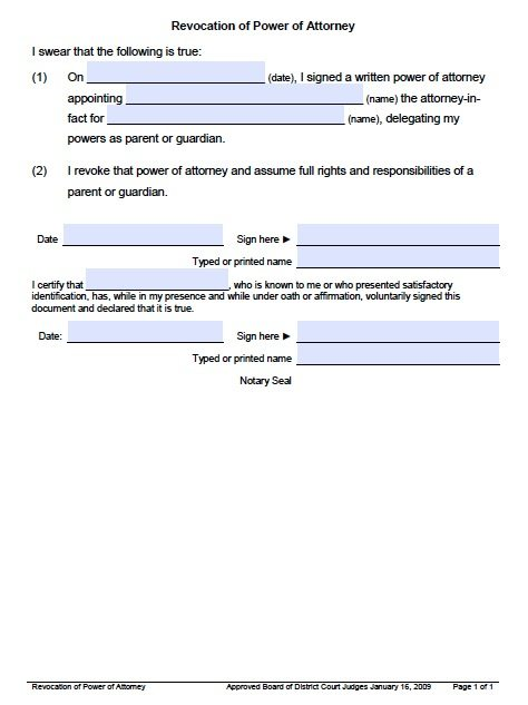 Free Revocation Of Power Of Attorney Utah Form – Pdf