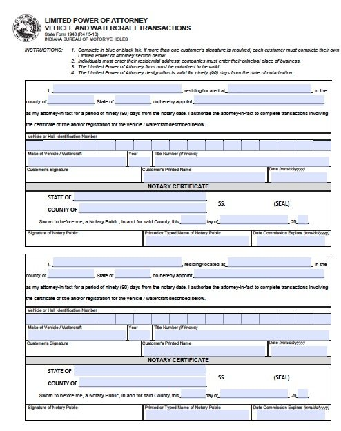 Free Vehicle  Boat  Indiana Power Of Attorney  Form   Pdf