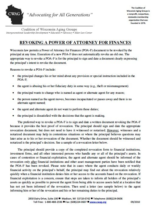 Free Revocation Power of Attorney Wisconsin Form – Adobe PDF
