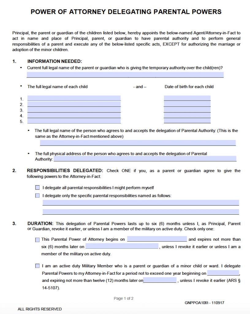 power of attorney form arizona  Free Minor (Child) Power of Attorney Arizona Form – PDF