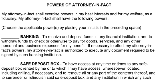 Simple power of attorney form free