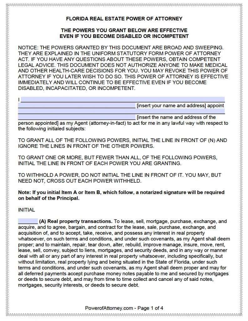 Free Real Estate Power of Attorney Florida Form – Adobe PDF
