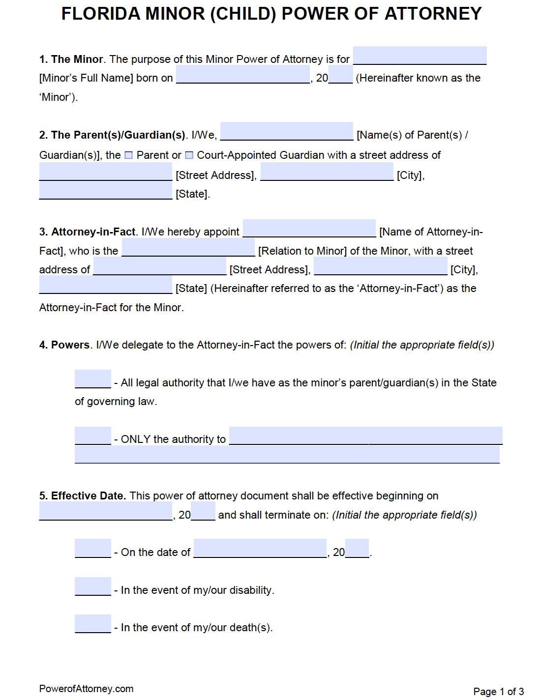power of attorney form florida  Free Minor (Child) Power of Attorney Florida Form – PDF – Word