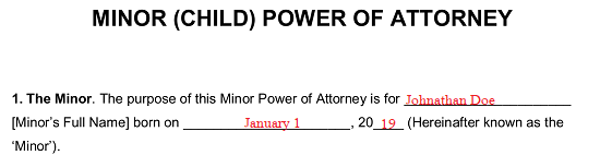 Free Minor (Child) Power of Attorney Form