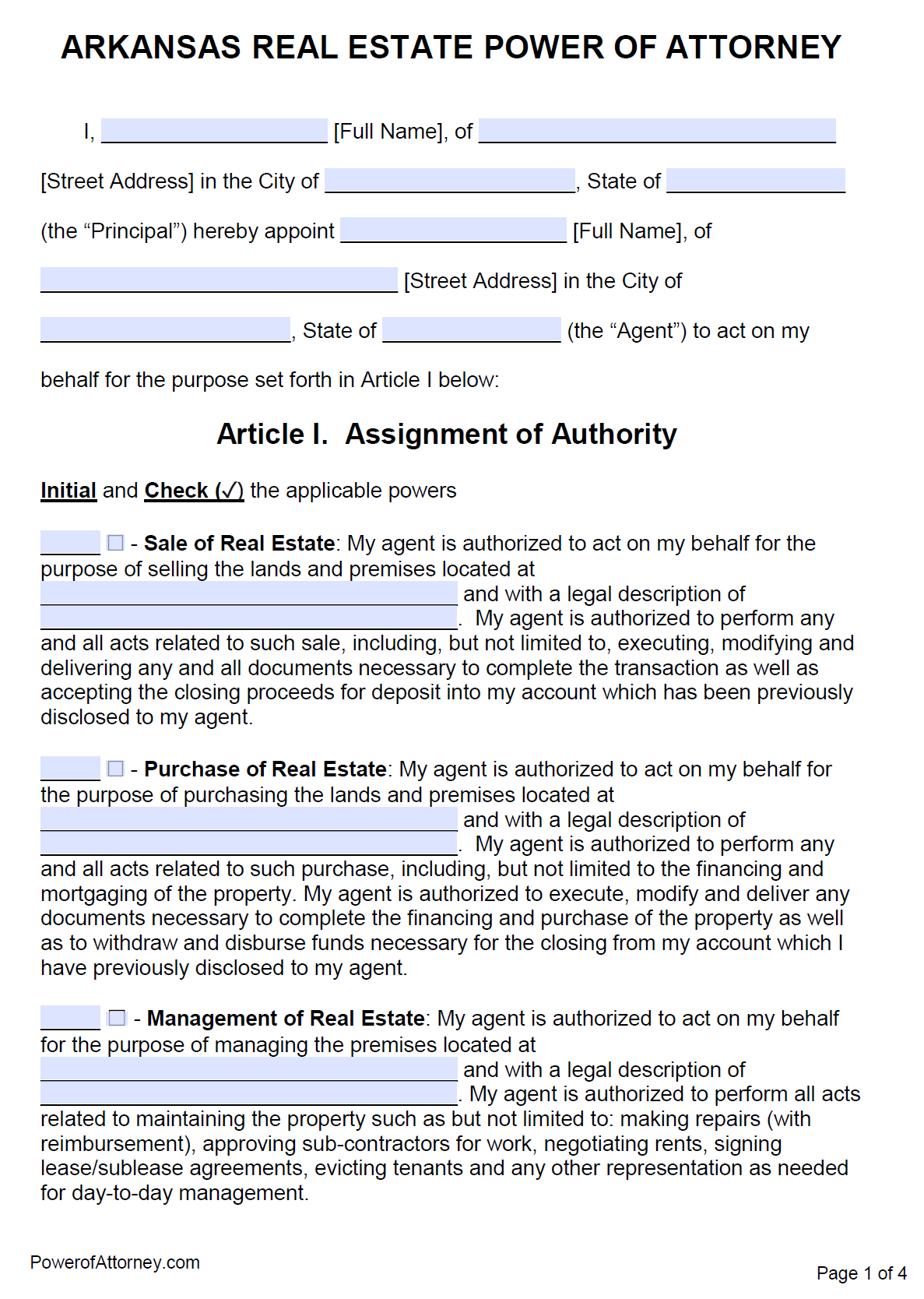 Free Real Estate Power Of Attorney Arkansas Form Pdf Word