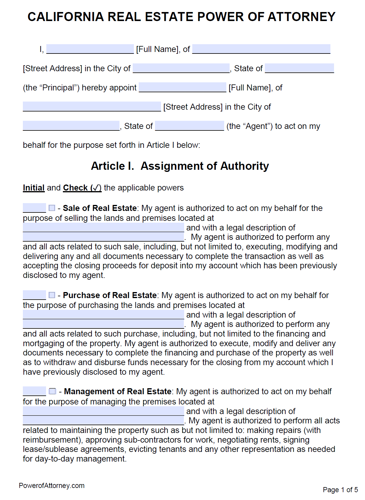 power of attorney form real estate  Free Real Estate Power of Attorney California Form – PDF – Word