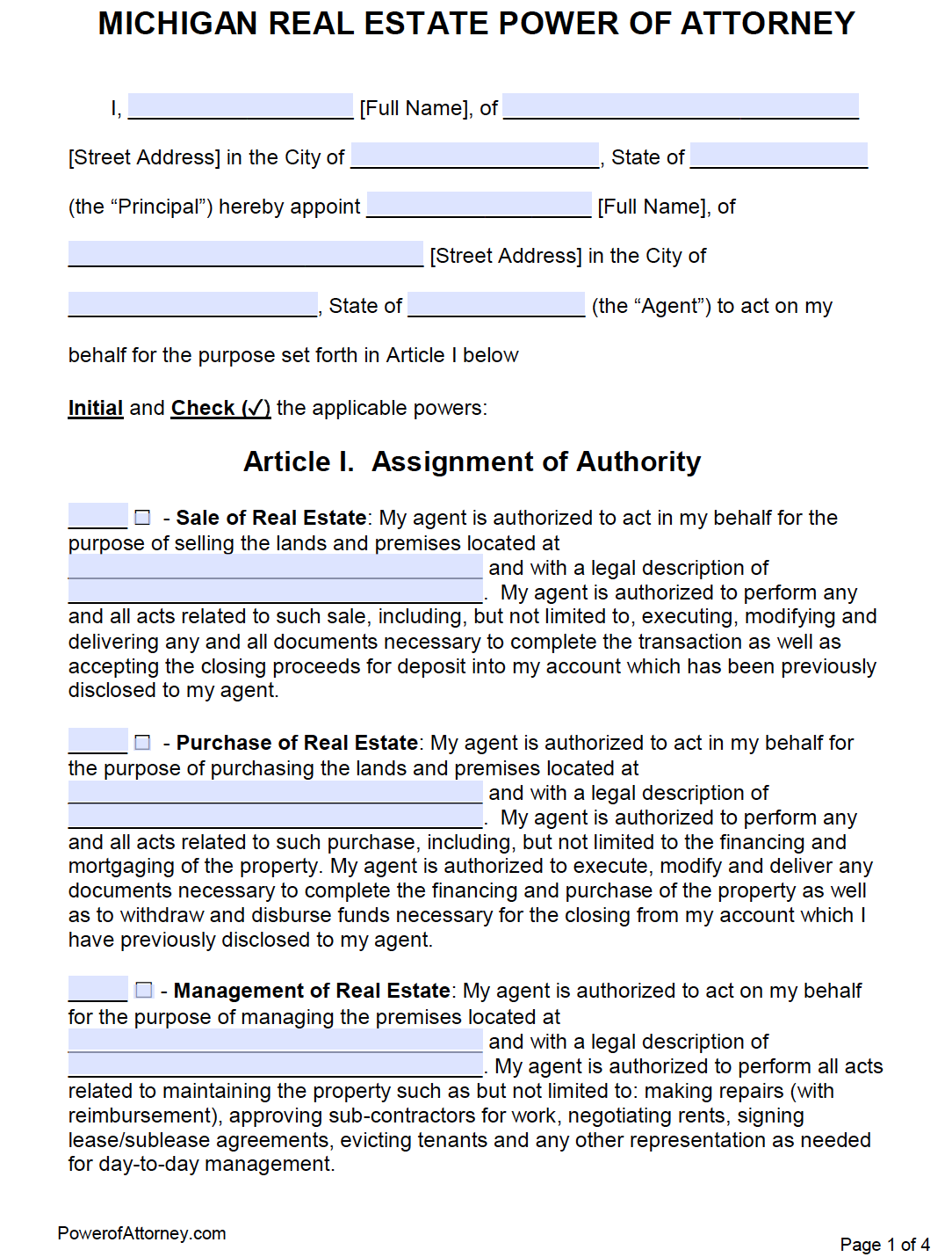 Free Real Estate Power of Attorney Michigan Form – PDF – Word