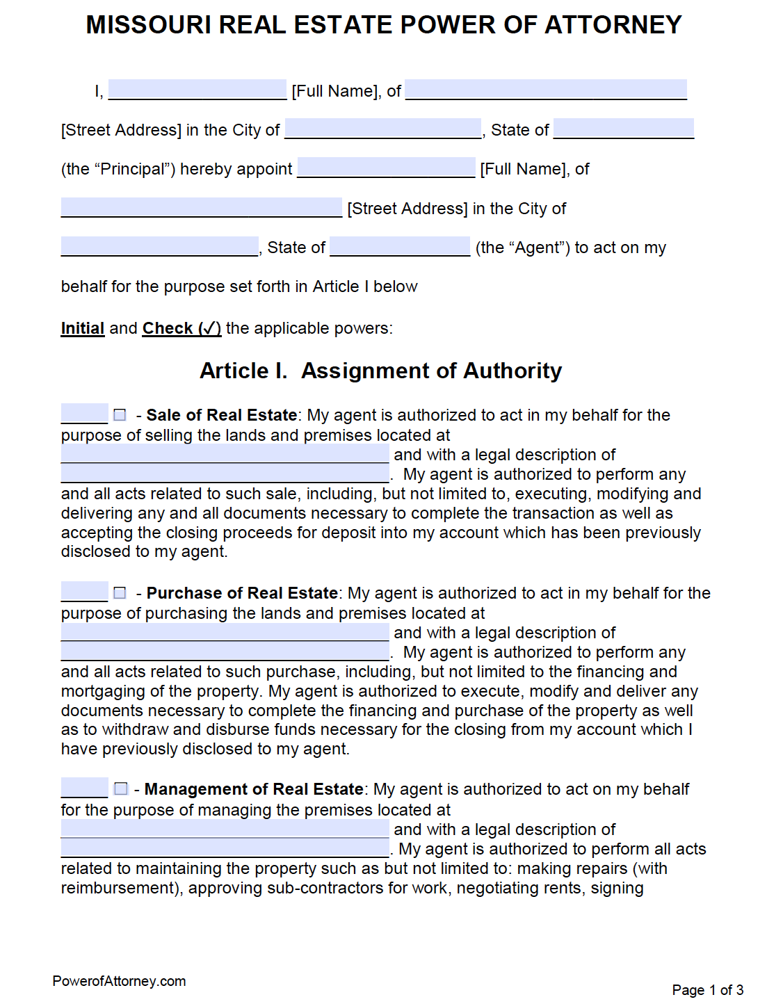 real estate power of attorney form  Free Real Estate Power of Attorney Missouri Form – PDF – Word