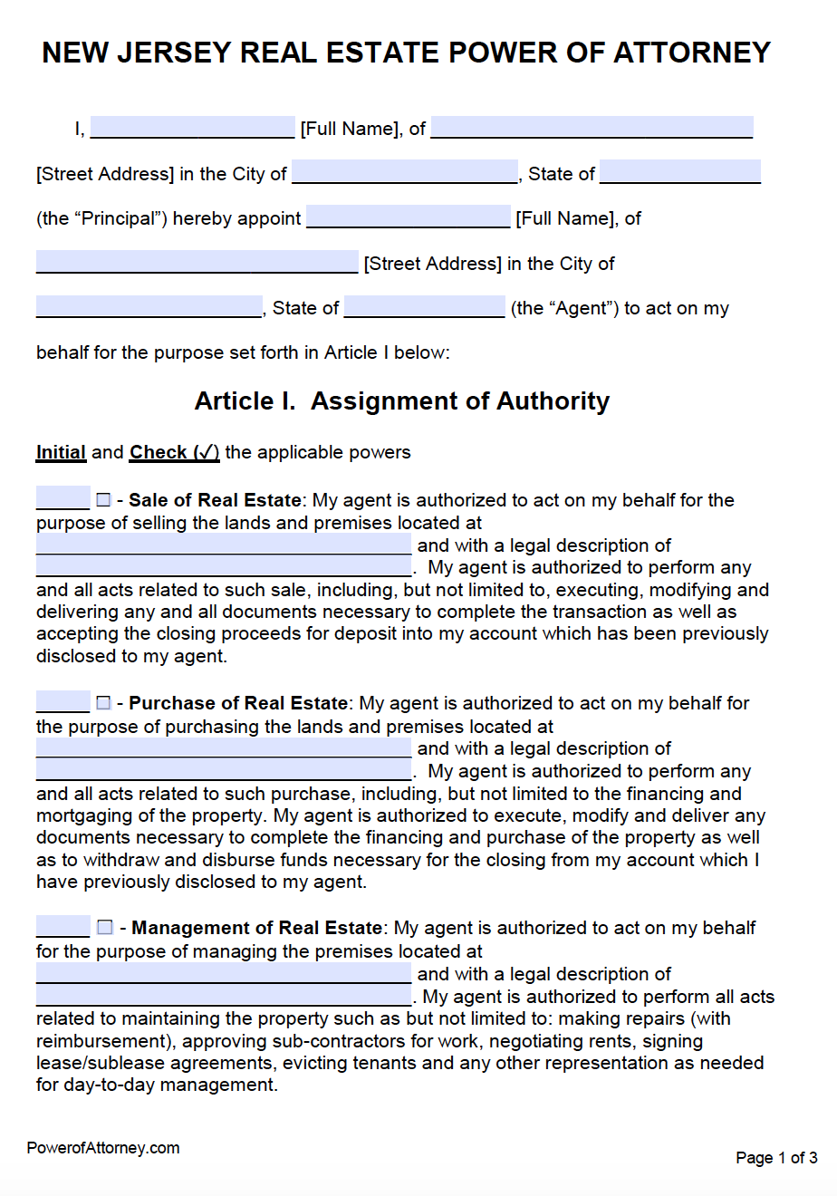 Free Real Estate Power of Attorney New Jersey Form – PDF – Word