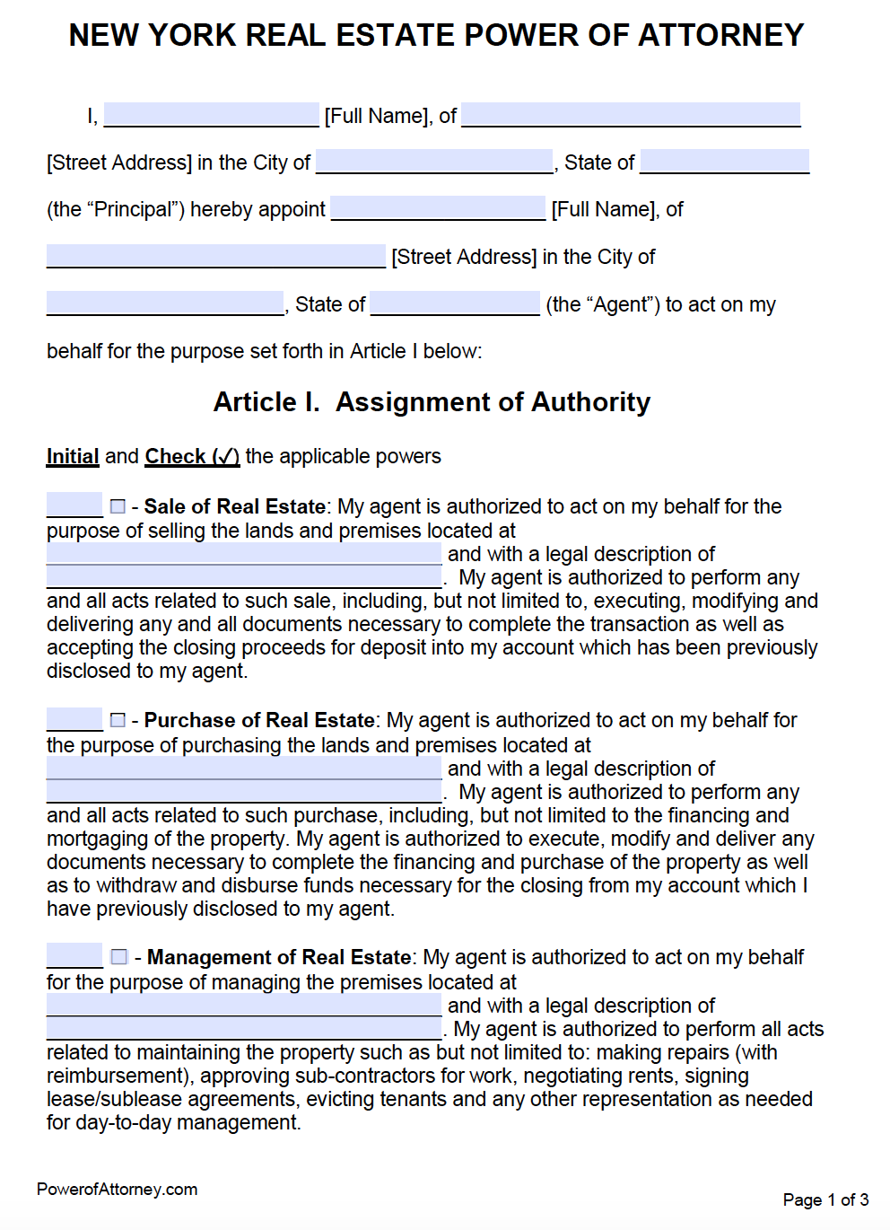 power of attorney form real estate  Free Real Estate Power of Attorney New York Form – PDF – Word